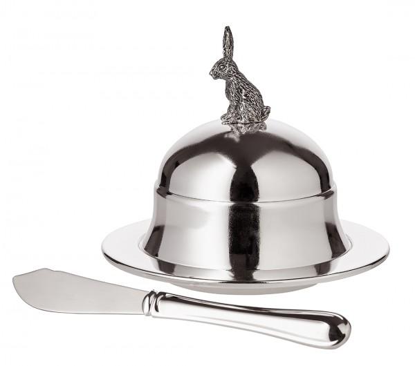 Butterglocke Hase, mit Glasplatte & Buttermesser